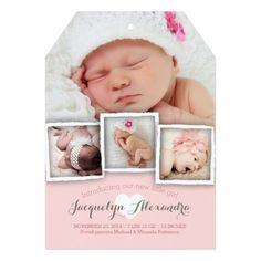 Modern Baby Dreams Sweet Girl Birth Announcement Invitation Card