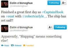 Colin O'Donoghue 1st tweets about Captain Hook - 19 August 2012