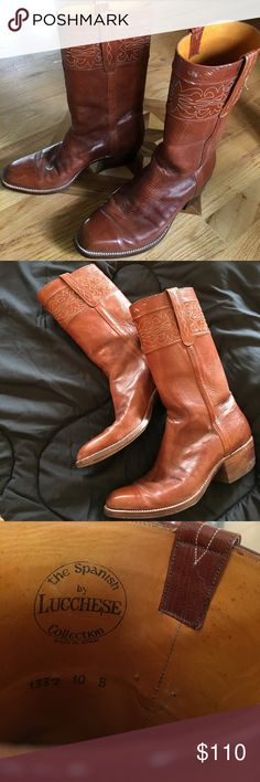 Lucchese women's boots Beautiful Lucchese Spanish Collection boots. They have delicate stitching around the tops, Carmel color will go with anything. They have a minor amount of paint (not sure what it is) on the top of one boot. Looks like it would buff out easily I just don't have the equipment to do it well. Not noticeable (I have worn these several times and only noticed this as I was taking photos) Lucchese Shoes Heeled Boots