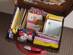 Storing snail mail stationery in a small suitcase