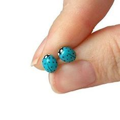 Dainty Ladybug Stud Earrings in Turquoise Blue with Surgical Steel, Titanium, or Sterling Silver Posts