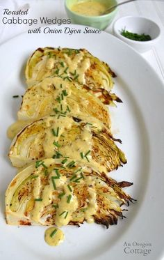 Roasted Cabbage Wedges with Onion Dijon Sauce Think you dont like cabbage? I promise youll change your mind if you take a few minutes to make this yummy roasted cabbage with onion dijon sauce recipe (hint: its great without the sauce too! Vegetarian Recipes, Cooking Recipes, Healthy Recipes, Vegan Cabbage Recipes, Keto Veggie Recipes, Roasted Vegetable Recipes, Cooking Vegetables, All Food Recipes, Coconut Oil Recipes Food