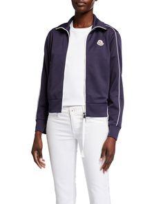 Moncler Technical-jersey Track Jacket In 772 Navy Cargo Jacket, Rain Jacket, Nike Windrunner, Camo Pants, Moncler, Stylish Outfits, Crew Neck Sweatshirt, Lounge Wear, Active Wear