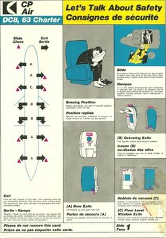 Canadian Pacific  vintage DC8 Safety card Pacific Airlines, Safety Instructions, Aviation, Aircraft, Chocolate Packaging, Manual, Jet, Cards, Electric