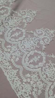 Beaded ivory lace trimming, Sequin lace trim, Pearl lace, French lace trim Chantilly lace, Bridal lace, Wedding lace, White lace by the yard