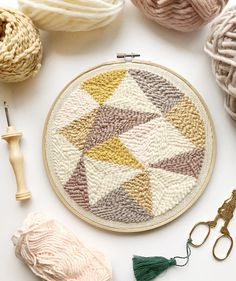 Punch needle art by Blanc Laine #punchneedle #hoopart #embroidery #craft #pastel