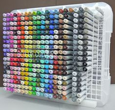 Marker storage from box and wire shelving.