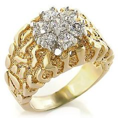 Two Tone Mens Ring Clear Cubic Zirconia
