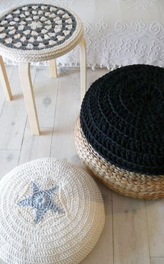 Crochet Stool Cover!  Love this @ Etsy