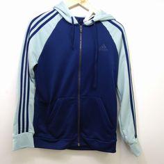 1f86e12fdbea New Womens Adidas Navy Mint Green Logo Long Sleeve Zip Up Workout Hoodie  Medium  adidas