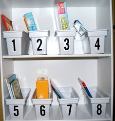 cheap storage bin idea... classroom or play room. I'm pretty sure they have ice cube trays at the dollar store!