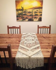"""378 Likes, 18 Comments - Heidi Martin (@macramania) on Instagram: """"I hadn't made a macramé table runner in quite a while. I like how this one turned out! #art…"""""""