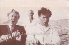 Charlie & Russian filmmaker Grigori Alexandrov in a row boat off Catalina Island, California, Charlie Chaplin, History Of Santa, John Hawkes, Santa Catalina Island, Charles Spencer Chaplin, Bad Memories, Angels In Heaven, Silent Film, The Dreamers