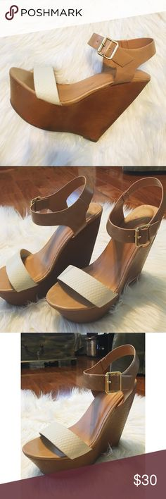 Neutral Wedges These neutral wedges go with everything! About a 4.5 inch heel and a 1 inch platform. Worn once. Purchased from an online boutique Shoes Wedges