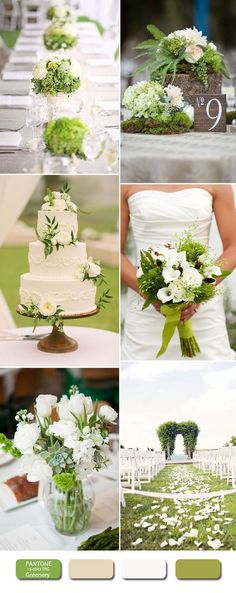 greenery and white wedding color inspiration