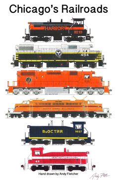 6 hand drawn Chicago's Railroads engine drawings by Andy Fletcher