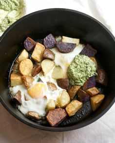 Crispy Potatoes with Baked Eggs and Pesto Yogurt via Big Girls Small Kitchen