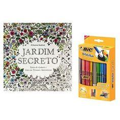 livro jardim secreto johanna basford   Kit - Livro Jardim Secreto - Johanna Basford + Lápis de Cor Bic ...