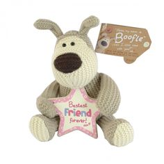 Boofle small plush holding star plaque bestest friend forever
