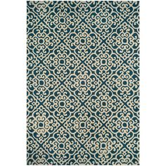 "Couristan Covington Blue/Ivory Polypropylene Indoor/Outdoor Area Rug (3'6 x 5'6) (Size 3'6"" x 5'6"")"