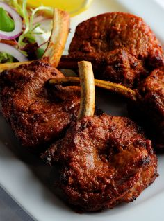 This delightful kebab recipe features grilled lamb chops marinated with raw papaya, garlic, ground chilli, fennel and cream. Alfred Prasad's lamb is remarkable barbecued or grilled in a tandoor oven. You can buy chaat masala from Indian grocery stores and Kebab Recipes, Veg Recipes, Curry Recipes, Indian Food Recipes, Asian Recipes, Cooking Recipes, Papaya Recipes, Recipies, Halal Recipes