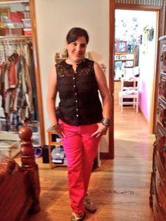 c7fa71d108333 Jen wearing G by Giuliana Rancic Ruffled Lace Top in  Black  GbyGR G By