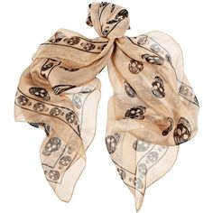 Alexander McQueen Skull-print silk-chiffon scarf (940 BRL) ❤ liked on Polyvore featuring tops, scarves, accessories, alexander mcqueen, jewelry, beige top, alexander mcqueen tops, skull top and silk chiffon top