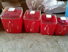 Vintage Canister Set Plastic Red | eBay