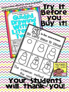 This FREE snowman step by step drawing/writing literacy center will allow for independent learning for your students.