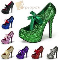 Plateau High Heel 10cm Pumps Damen Stiletto Wedge Italy Elegant Glitter Apropos