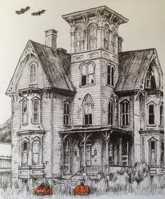 #art #drawing #pen #sketch #illustration #architecture #house #hauntedhouse #halloween
