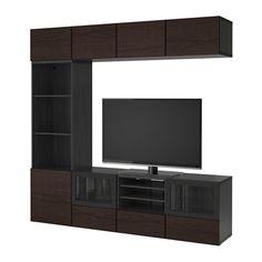BESTÅ TV storage combination/glass doors - black-brown/Inviken black-brown clear glass, drawer runner, soft-closing - IKEA