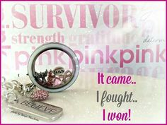 Give someone hope with this Origami Owl locket or show your support for the cause. #Survivor #pinkribbon #breastcancer To shop for this look or see what other beautiful items are available to make your look unique, click on the picture. #origamiowl #origami #owl #necklace