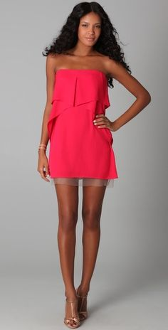 BCBGMaxAzria Fei Fei Strapless Dress in pink crimson Vegas Dresses, Bcbg Dresses, Bcbgmaxazria Dresses, Cute Dresses, Summer Dresses, Style And Grace, My Style, Before Wedding, Swagg