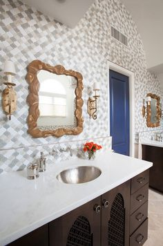 Layer on the texture in your bathroom to give it tons of character.