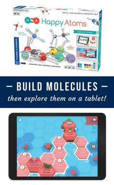 Create molecules from the magnetic atoms in Happy Atoms! Then, scan your atoms with the smartphone and tablet app to discover and explore your molecules. The atoms have metal tips, rubbery arms, and magnetic bonding sites that are constructed with the proper number of free elections, meaning it's almost impossible to build a molecule that doesn't already exist. The app recognizes and teaches chemistry knowledge for over 10,000 possible creations!