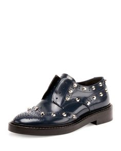 Studded+Wing-Tip+Derby+Loafer,+Bleu+Obscur+by+Balenciaga+at+Neiman+Marcus.