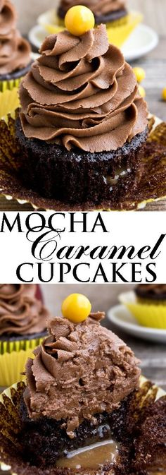 This rich MOCHA CARAMEL CUPCAKES recipe with mocha frosting combines the bold flavors of chocolate and coffee together. These easy chocolate mocha cupcakes are made from scratch and great for chocolat (Chocolate Muffins From Scratch) Coffee Cupcakes, Mocha Cupcakes, Caramel Cupcakes, Yummy Cupcakes, Chocolate Desserts, Easy Desserts, Delicious Desserts, Dessert Recipes, Chocolate Lovers