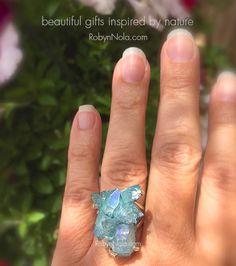 Aqua Aura Quartz Crystal Cluster Ring set in sterling silver #AquaAura #Crystals