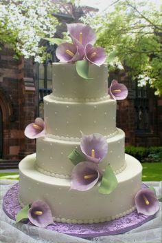 4-tiered Lavender Calla Lily wedding cake . .