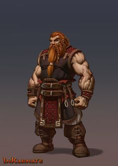 classic dwarf, dwarvens, irish dwarf, red dwarf, leather armor, red hair dward. for inkarnate.com