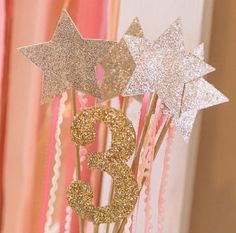 Fairy Princess Birthday Party - Champagne Glittered Princess Star Wands and a Gold Glittered Number of your Princess' Age