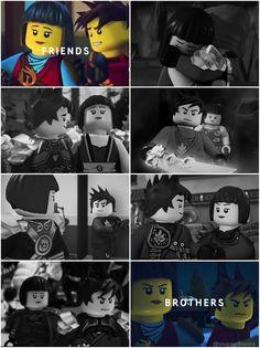 "#Ninjago #Nya #Kai - ""Friends. Brothers."" • by @smaragdbianka on twitter"