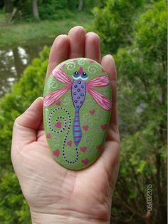3-1/2 x 2 Dragonfly Stone / Garden Stone / by MarciaStewartArt