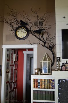 Halloween Mantel Decor at Farmhouse38.com.