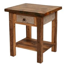 We carry this Colorado Natural Barnwood Nightstand - 1 Drawer, and other fine American-made rustic furniture and décor. Browse our rustic furniture catalogs now.  Free Delivery to 48 states.