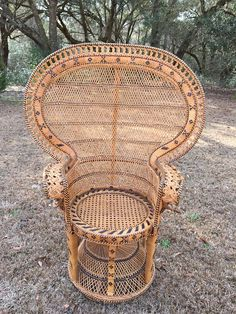 Details About Vintage Mid Century Peacock Chair Throne
