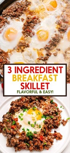 This Breakfast Skillet is hearty, flavorful and so quick to make! Using just 3 common ingredients to have on hand. Healthy Cookie Recipes, Healthy Breakfast Recipes, Clean Eating Recipes, Brunch Recipes, Paleo Recipes, Cooking Recipes, Breakfast Ideas, Delicious Recipes, Dinner Recipes