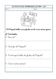 Dori dos 1112_mt006_r1_comprensio_lectora_4 Fails, High School, Math Equations, Writing, Texts, Reading Comprehension, Phonological Awareness, Speech Language Therapy, Secondary School