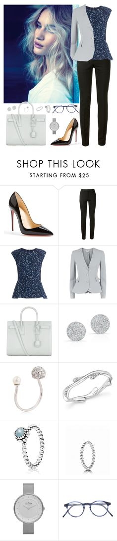 """""""Work wear #17"""" by rafieldshow ❤ liked on Polyvore featuring Christian Louboutin, BLK DNM, Rebecca Taylor, Armani Collezioni, Yves Saint Laurent, Anne Sisteron, Delfina Delettrez, Bloomingdale's, Pandora and Skagen"""